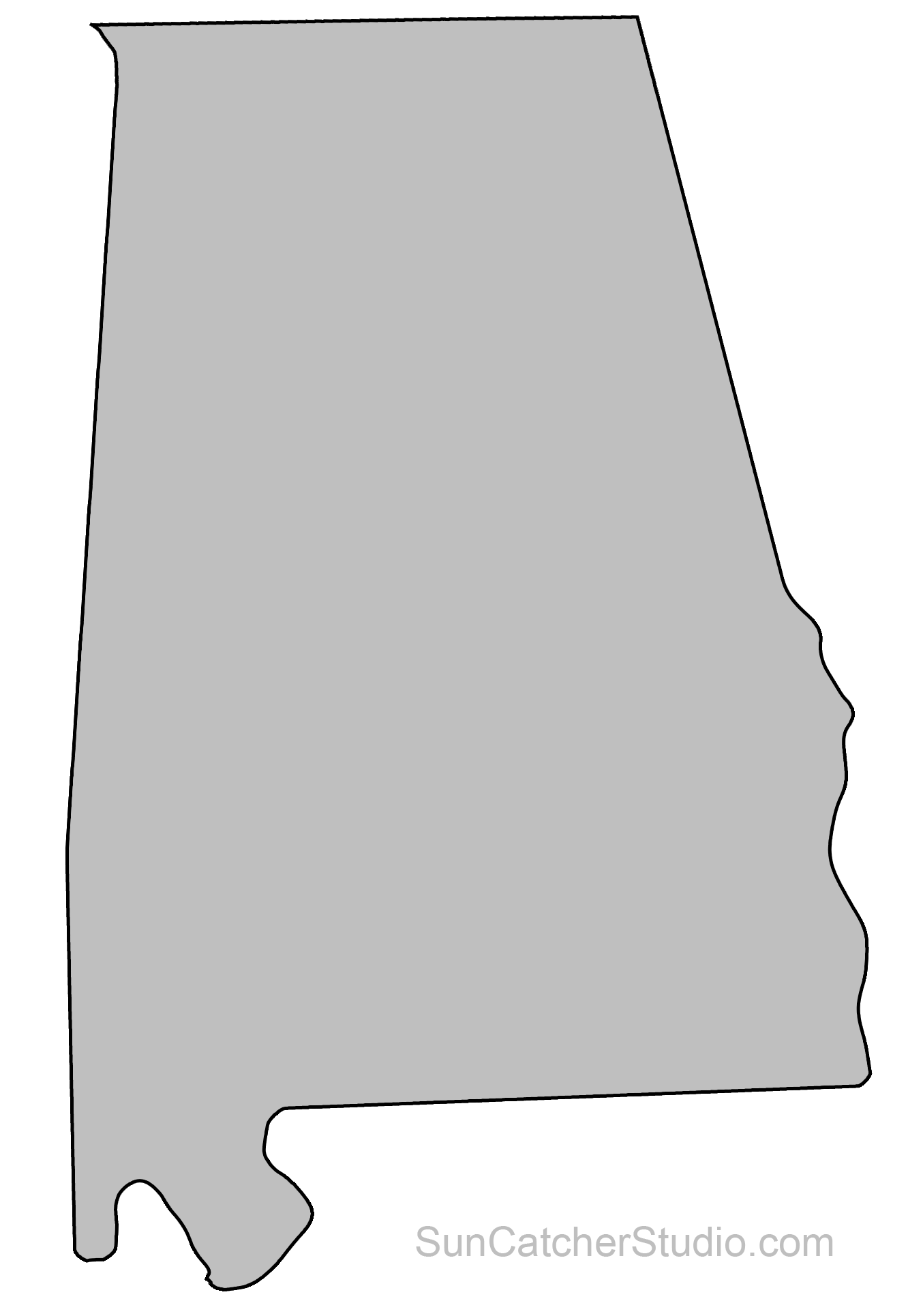 clipart freeuse State outlines maps stencils. Alabama clipart shape.