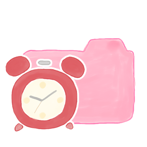 royalty free library Pink Folder With Alarm Clock Icon