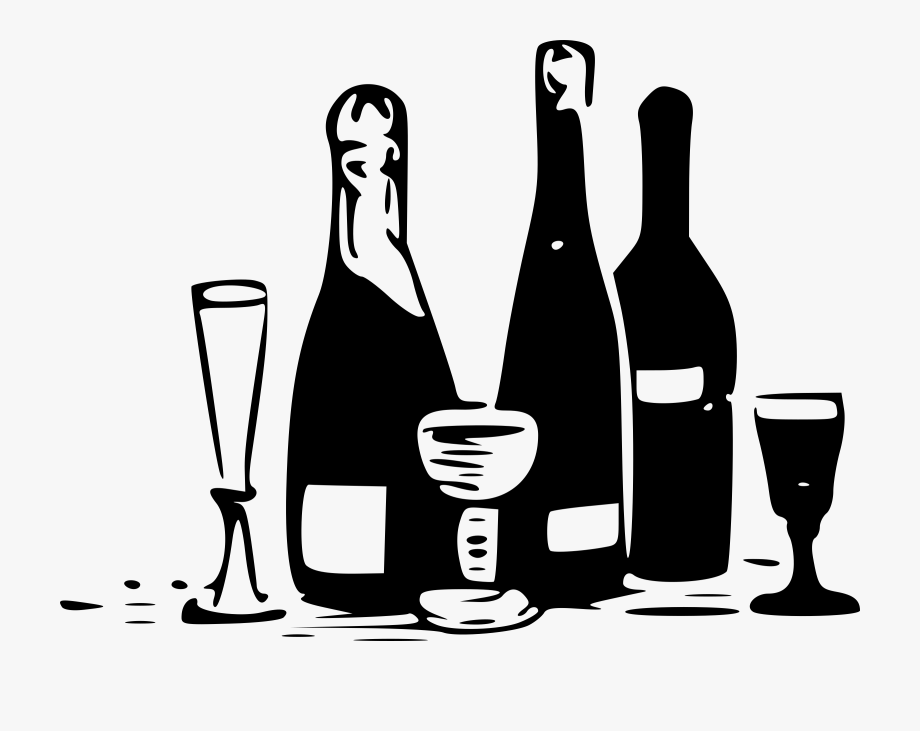 royalty free Alcohol bottle clipart black and white. Beer wine .