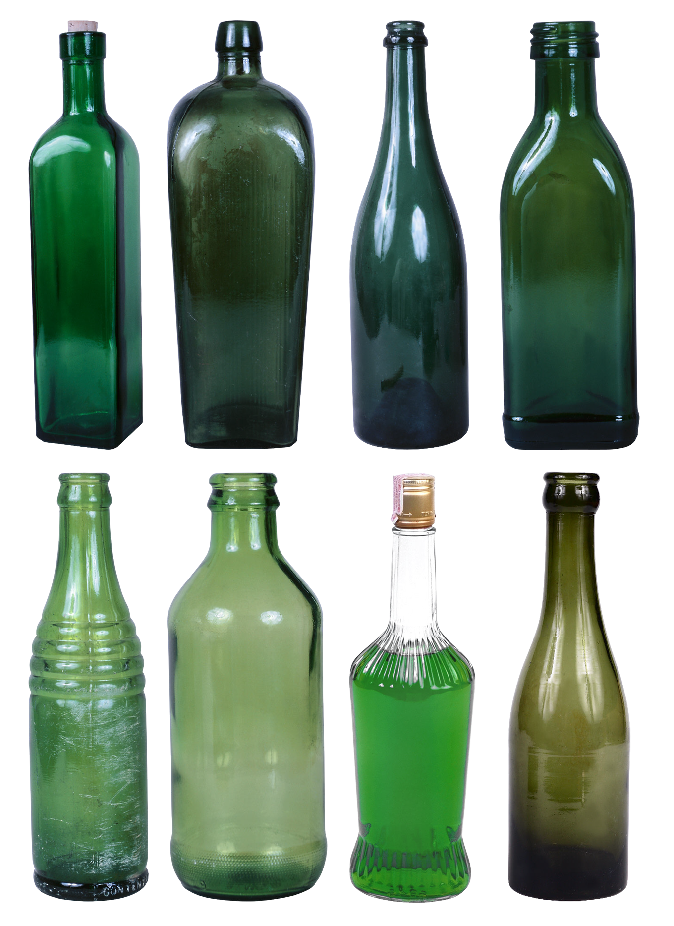 png stock Set of empty alcohol. Glass bottle clipart