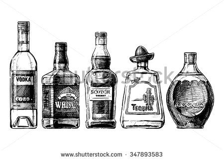 image library download Set of bottles alcohol. Vector bottle liquor
