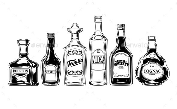 banner library library Vector bottle liquor. Set of bottles for