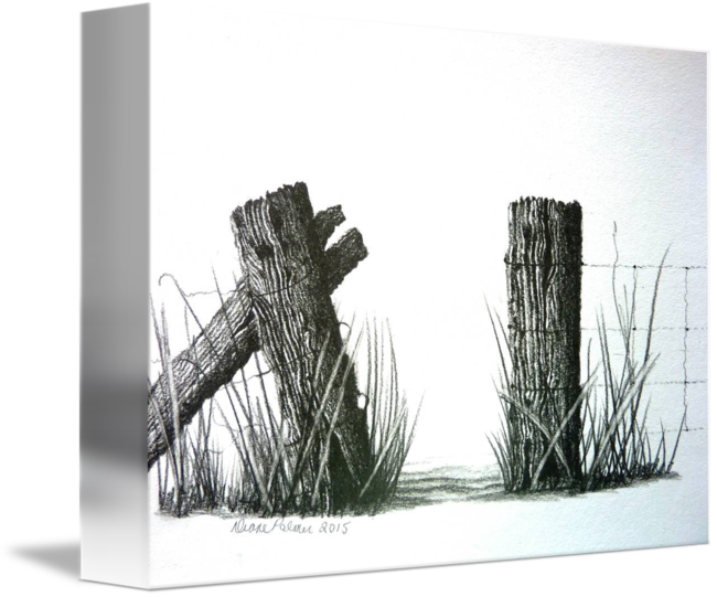 clip library library Farm Fence Gateway Pencil Drawing by Diane Palmer