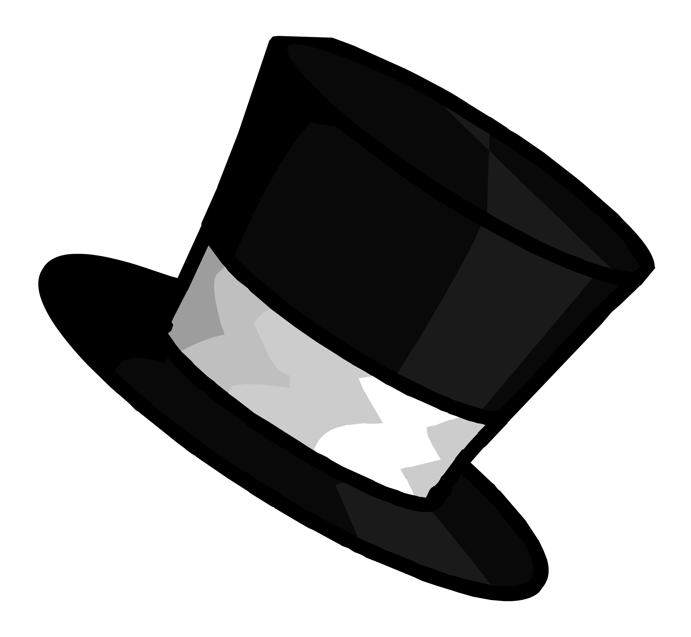 svg black and white library Clipart pin club wiki. Drawing penguin top hat