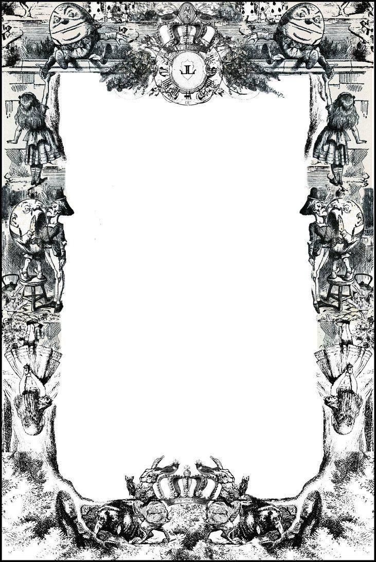 image black and white stock Boo villains . Alice in wonderland clipart wonderland page border.