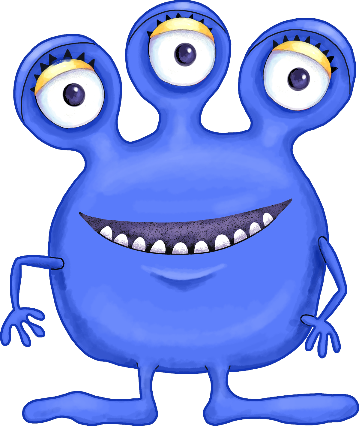 png royalty free library Blue clipart monsters. Monstruito de tres ojos.