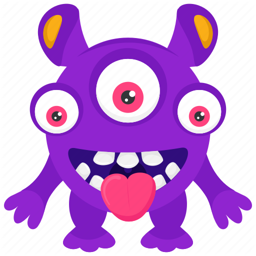 clip freeuse stock  cute funny monster. Aliens clipart three eyed