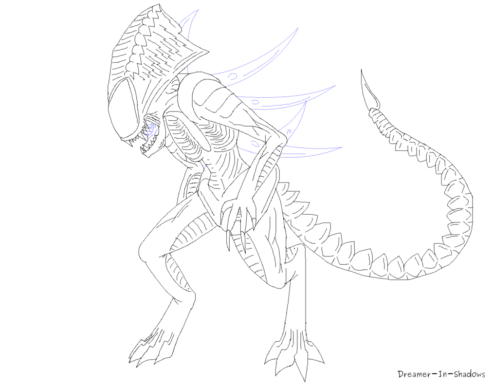 image stock Drawing perspectives character. Xenomorph praetorian base by