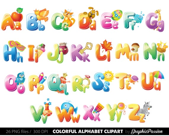image download Alphabet clipart. Illustrated color digital letters.