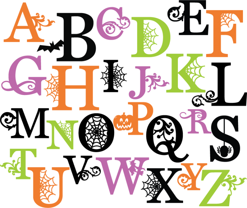 png stock Halloween alphabet letter pencil. Letters clipart.