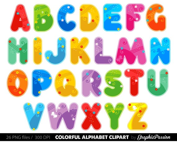 svg black and white Alphabet clipart. Color digital letters clip