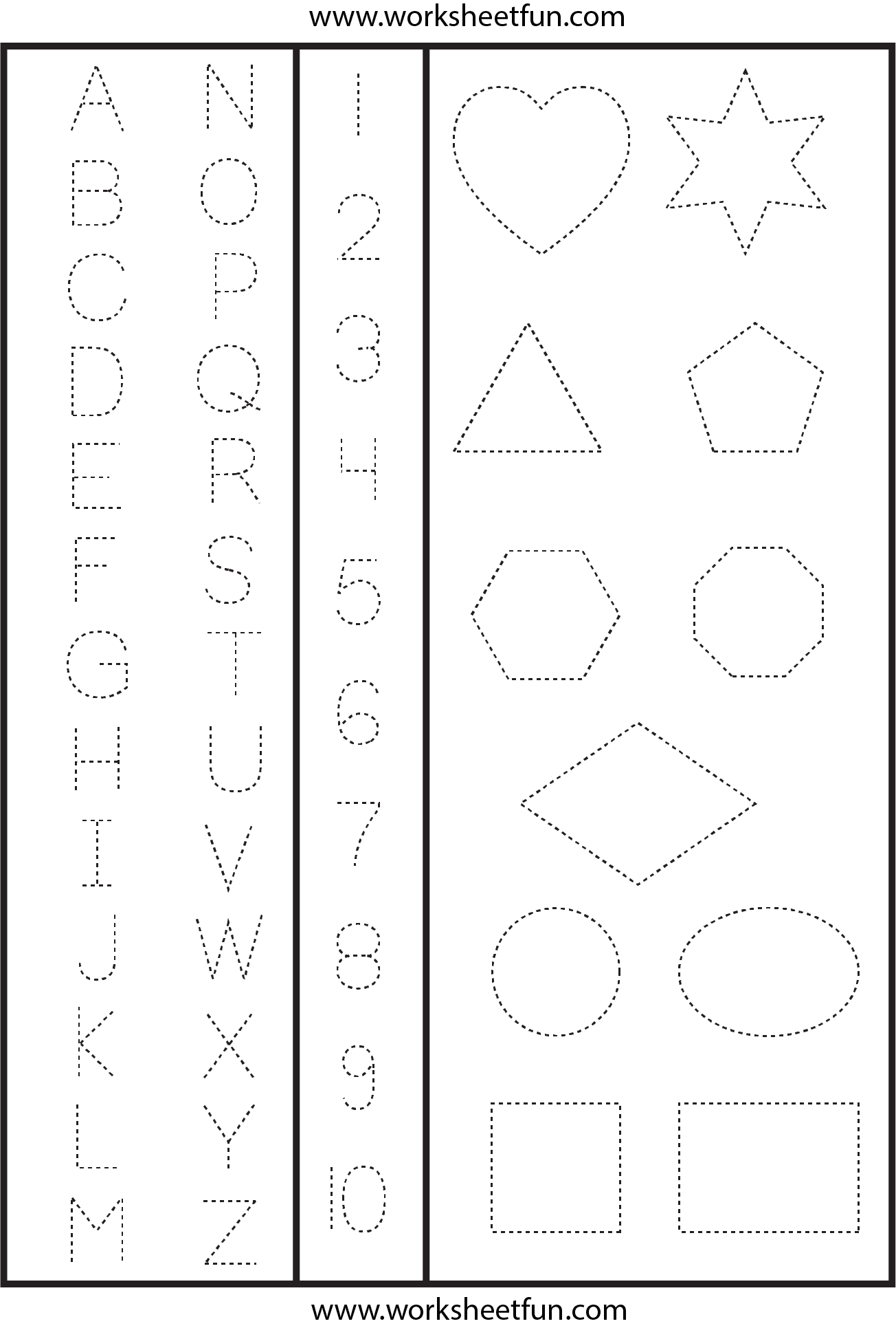 svg download Drawing worksheet pre k. Letters numbers shapes tracing
