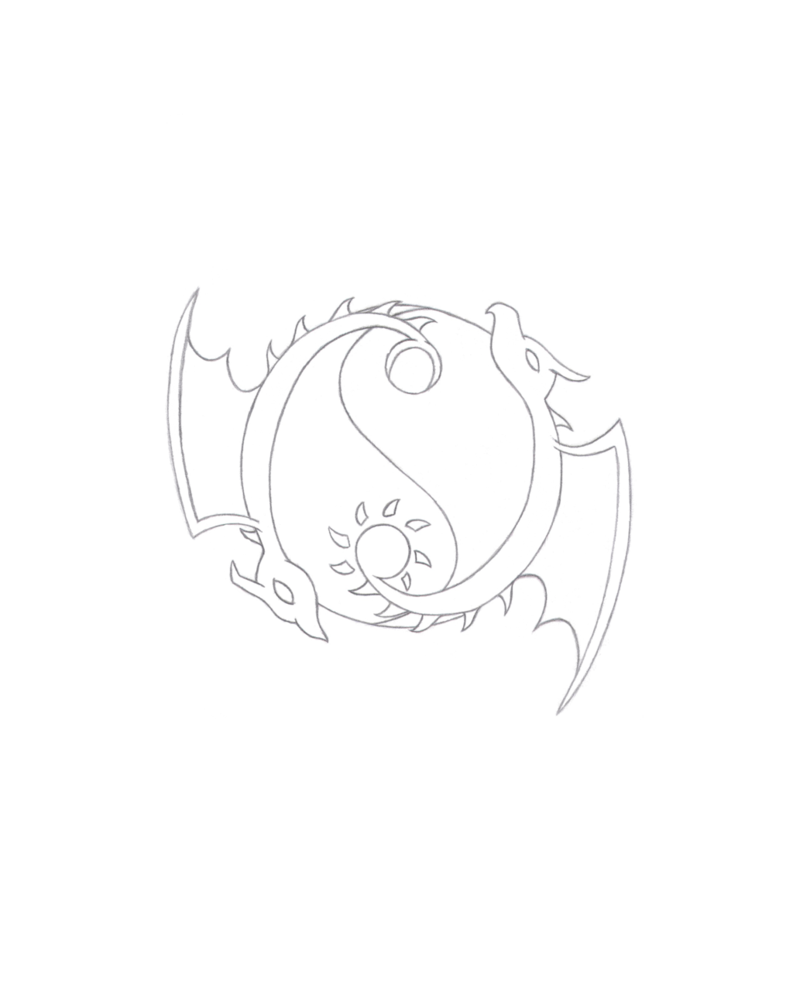 svg black and white Drawing random pencil. Yin yang dragon tattoo
