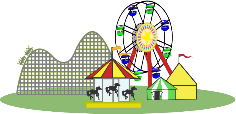 jpg free library Roller coaster clipart ferris wheel. Remix of carnival color
