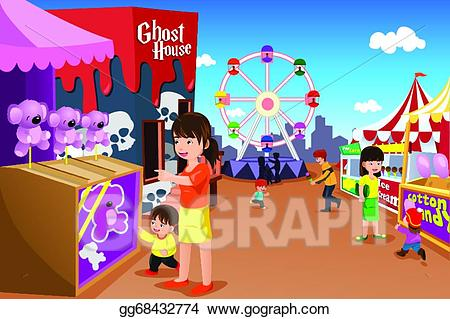 png transparent Vector stock playing in. Amusement clipart family amusement park.