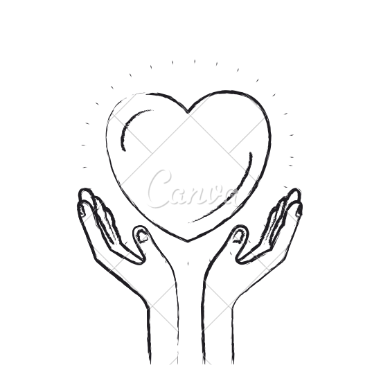 clip black and white download Heart With Hands Drawing at GetDrawings
