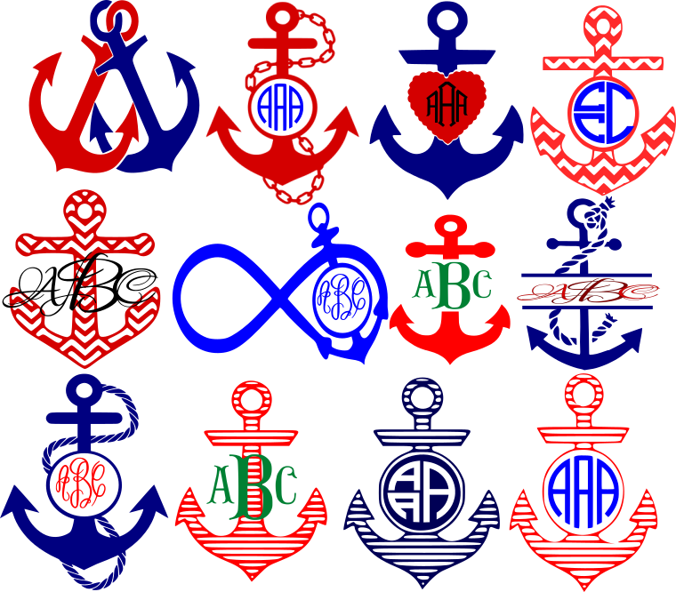 graphic royalty free stock Anchor SVG Monogram Frames Cut Files
