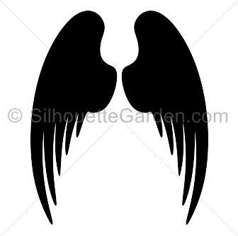 banner black and white stock Angel wings silhouette clip art