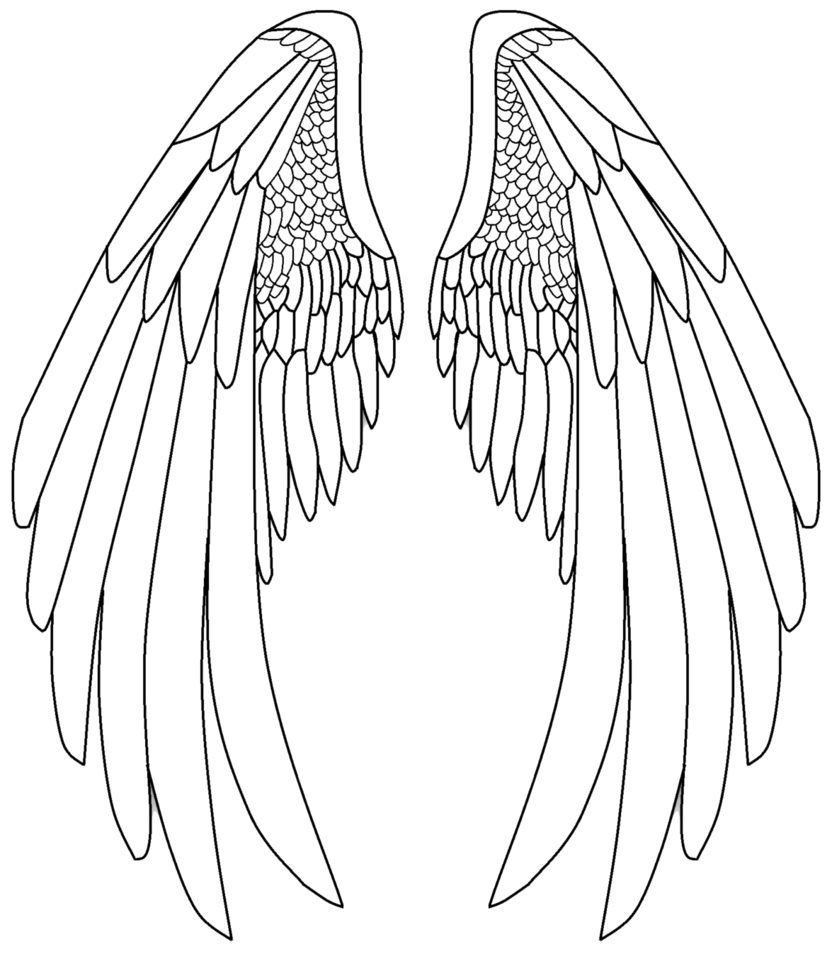 banner library Angel Black And White Drawing at GetDrawings