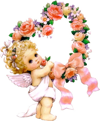 banner free stock Cute Little Angel with Flowers PNG Clipart