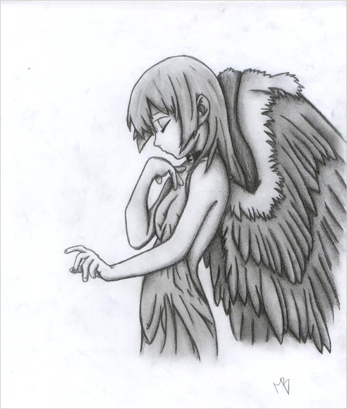 picture royalty free library Drawing s angel.  drawings free download