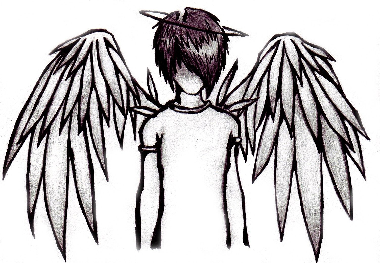 freeuse library Drawing boy fallen angel. Emo anime pinterest graffiti