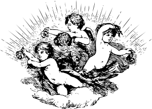 vector stock Cherubs In Cloud Clip Art at Clker