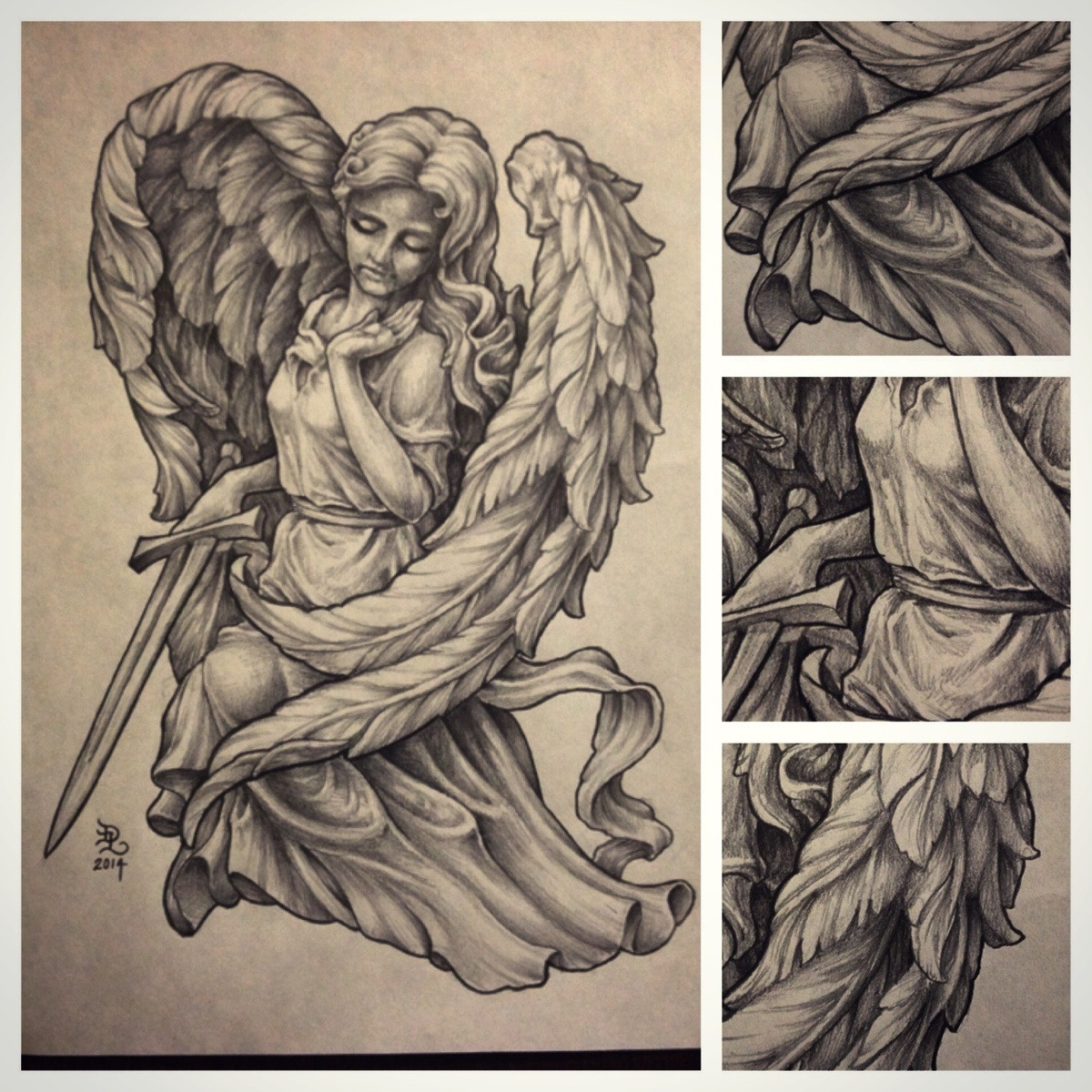 clipart free Pencil of an statue. Sculpture drawing angel