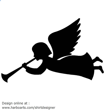 image freeuse stock Vector angel horn. Free christmas angels silhouette