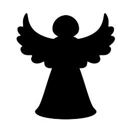 free stock Vector angel silhouette. Christmas tree jesus birth