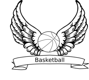 jpg black and white library Basketball Angel Wings Clip Art at Clker
