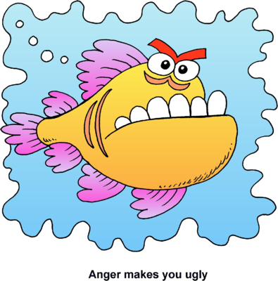 banner black and white Anger clipart. Image mean fish makes
