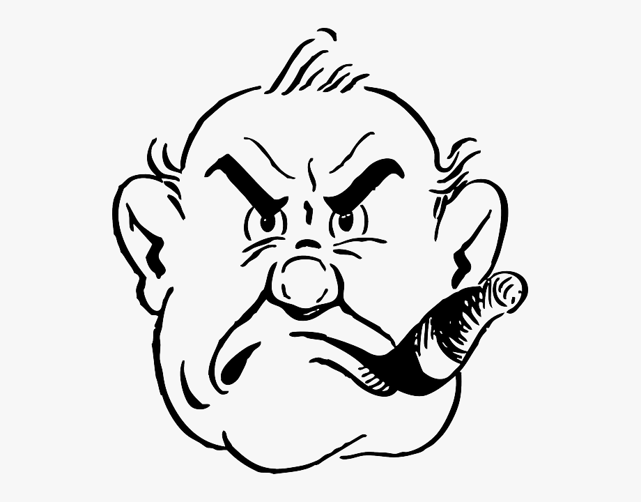 clip black and white stock Abstract gruff transparent cartoon. Anger clipart drawing