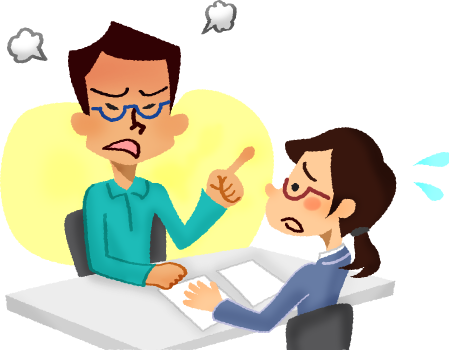 black and white download Man working clipart. Angry at woman adviser.
