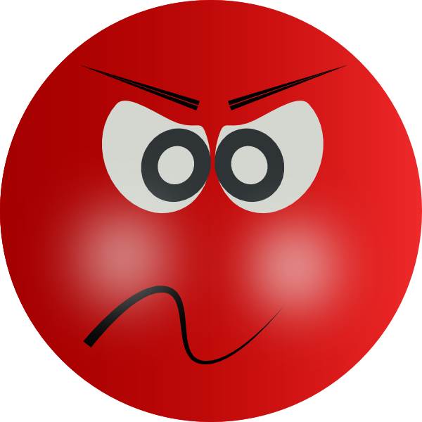 image black and white library Angry Face Person With Red Clipart