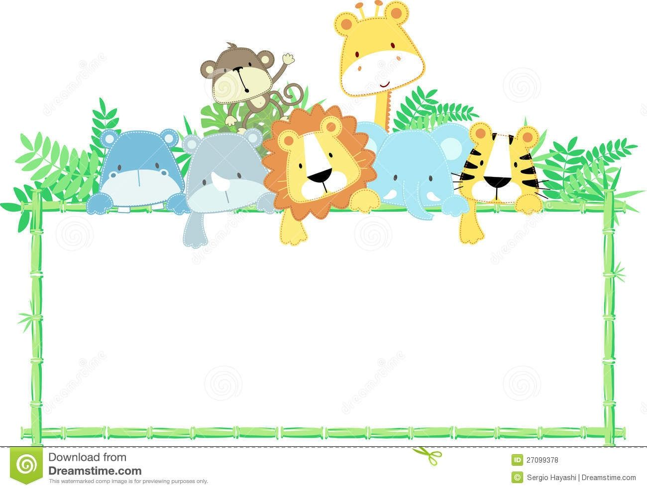 banner black and white library Animal collection baby safari. Zoo border clipart