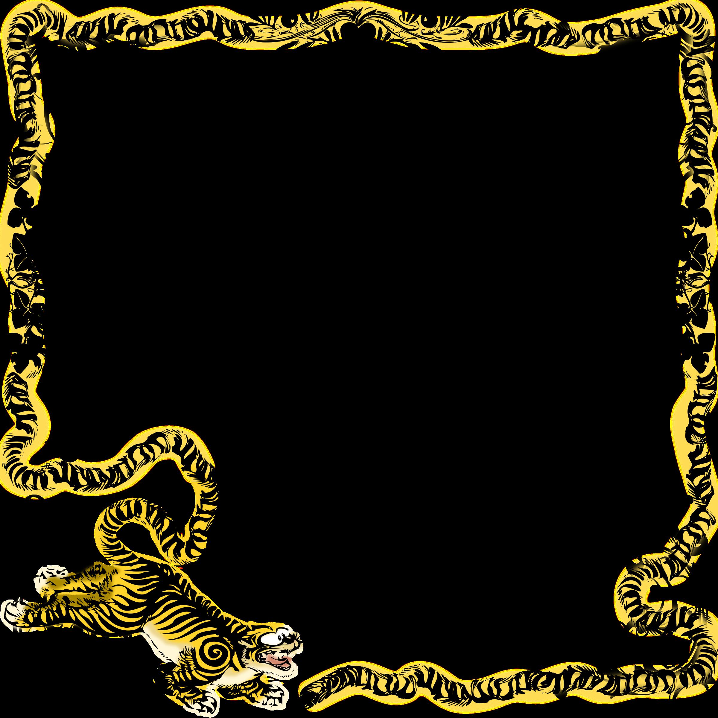 vector royalty free stock Tiger frame mono big. Animal border clipart