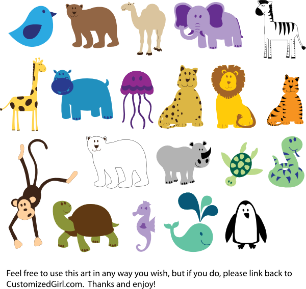 png freeuse stock Cute animals clip art. Animal clipart