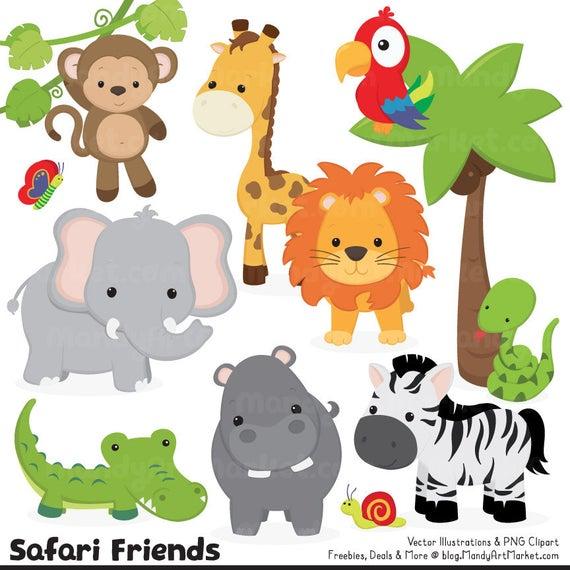 image black and white Cute jungle safari vectors. Animal clipart