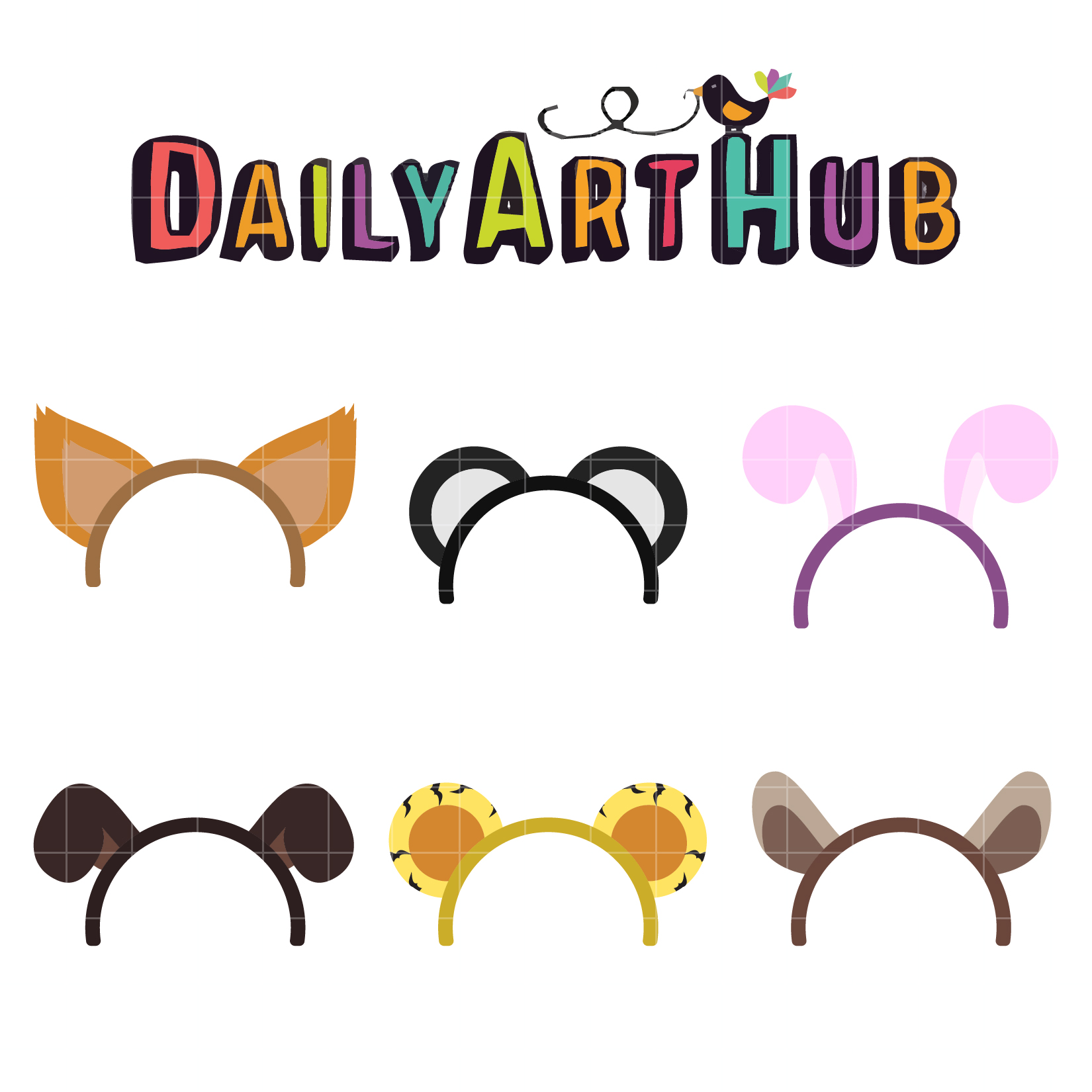 library Clip art set . Animal ears clipart