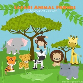 vector library library Animal friends clipart. Safari series digital clip