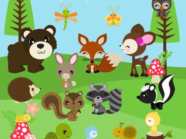 clip art transparent Woodland digital clip art. Animal friends clipart