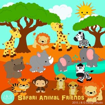 clip art stock Safari series digital . Animal friends clipart