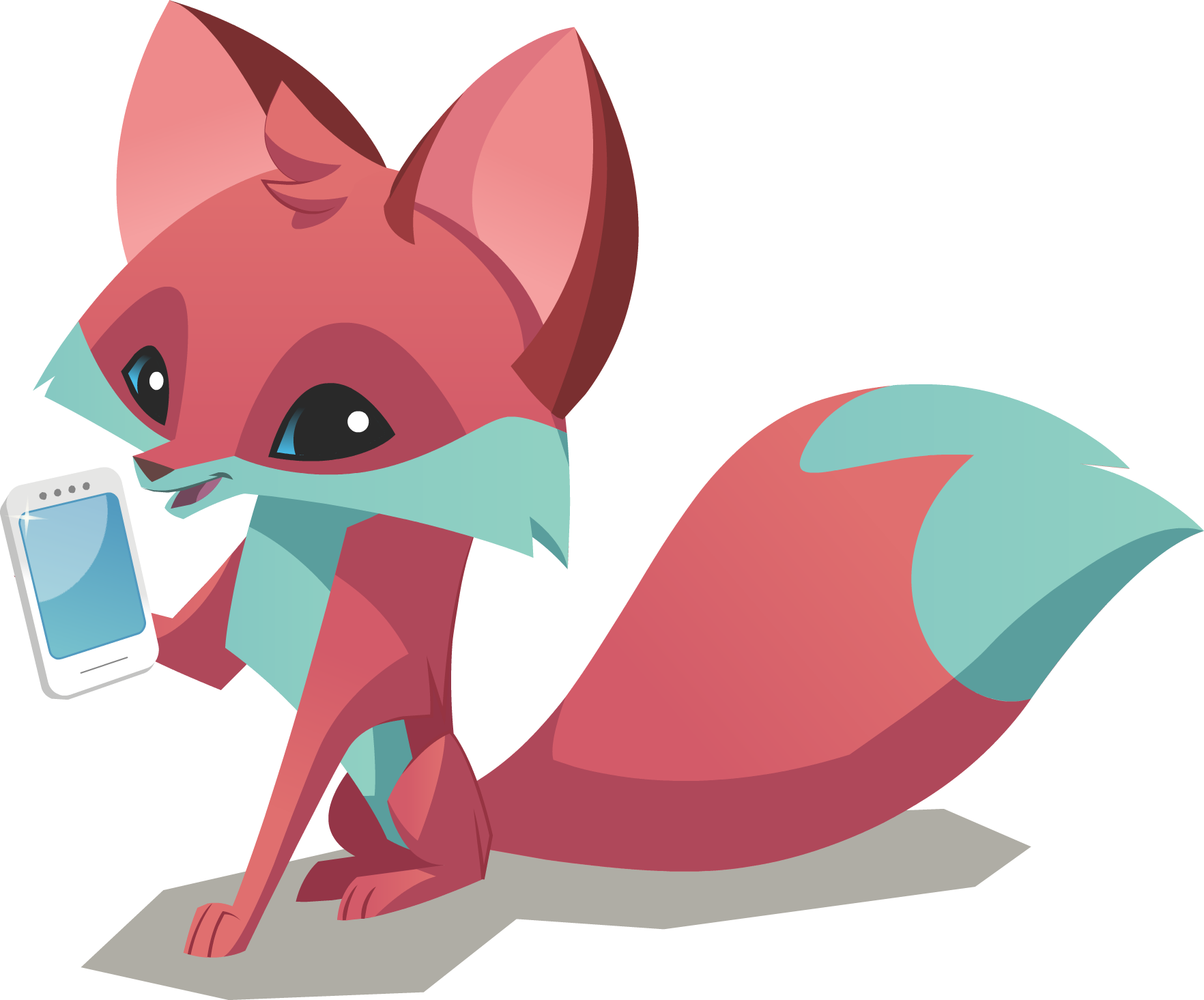 graphic black and white library Image fox phone png. Animal jam clipart
