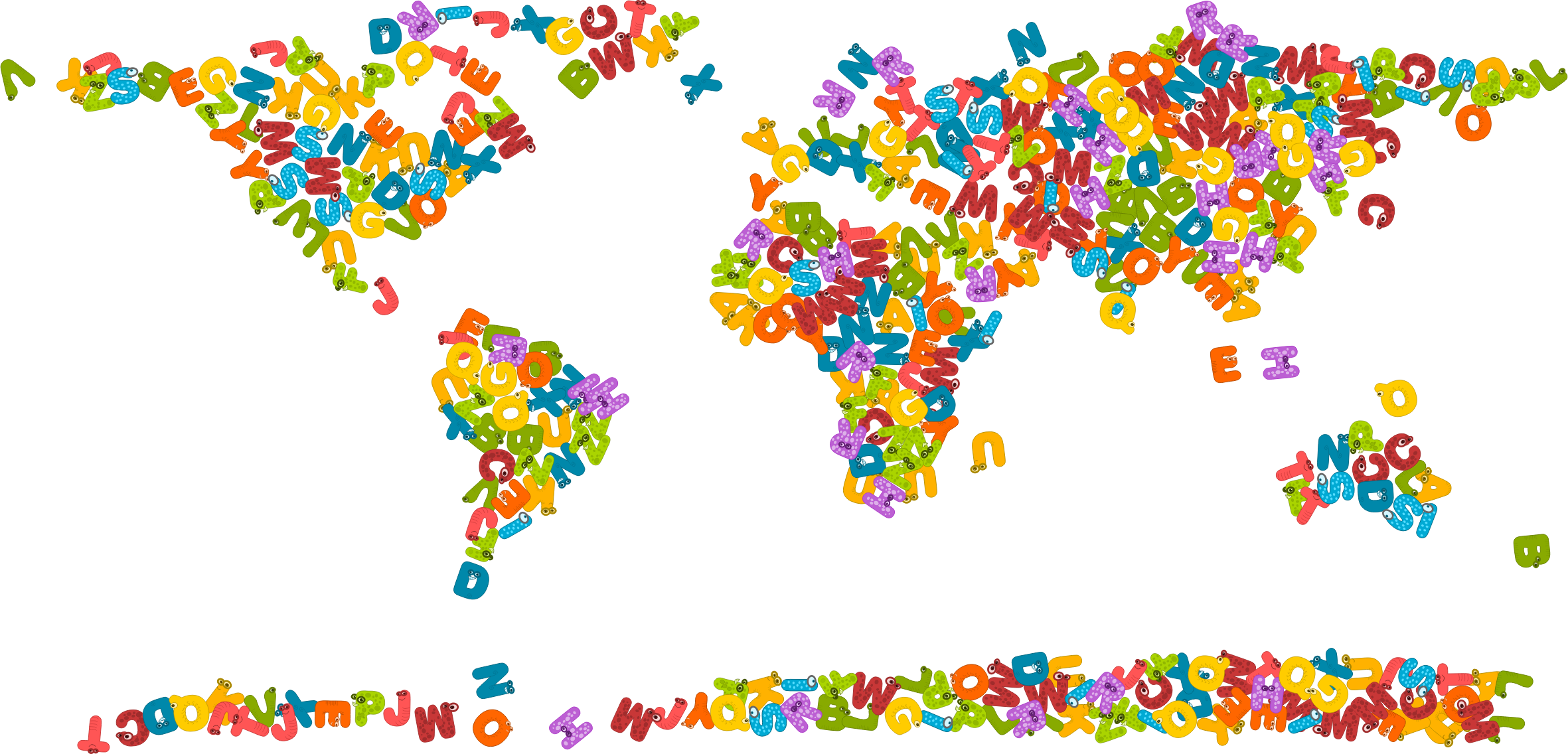 banner download Animals alphabet world map. Animal letters clipart
