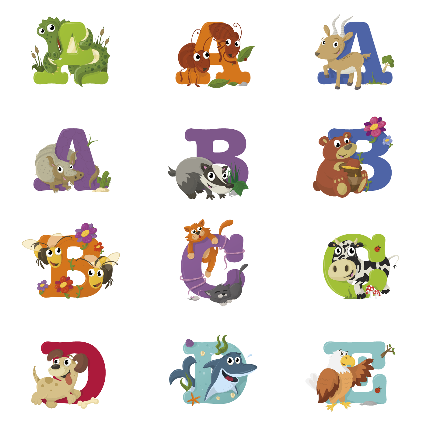 banner library Bilmaw alphabet. Animal letters clipart