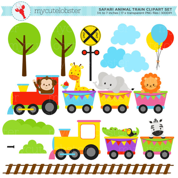 image royalty free Set clip art of. Animal train clipart