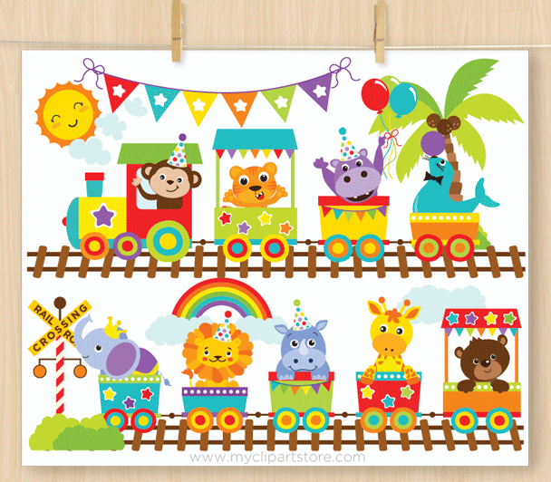 picture stock Animal train clipart. Zoo
