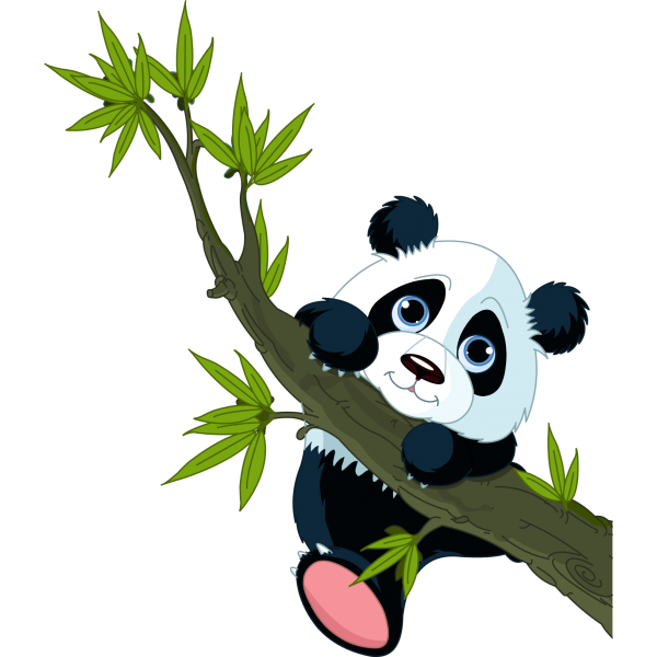 graphic royalty free stock Panda bears cartoon animal. Animals clipart plant.