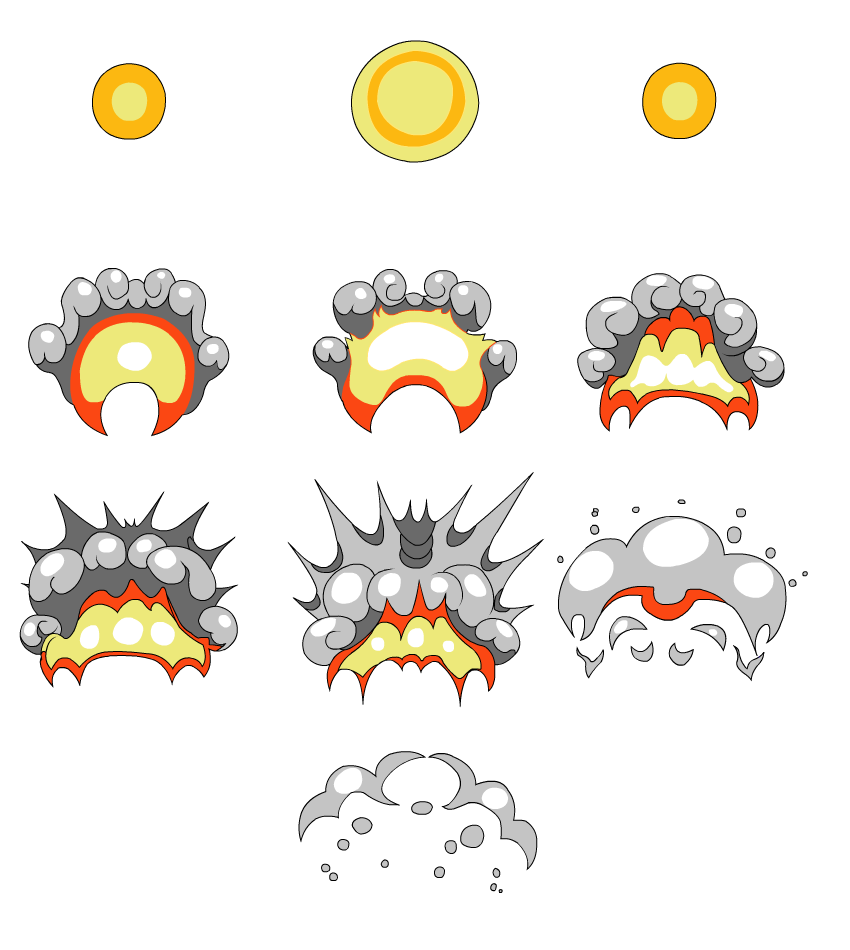 graphic transparent stock Sprite drawing pop art. Animate a cartoon explosion